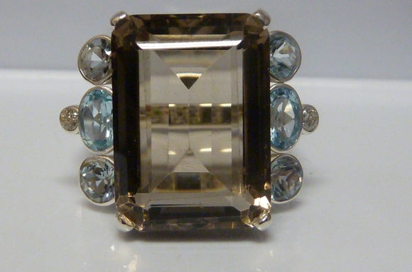Silver Smoky Quartz, Aquamarine & Topaz Ring