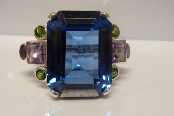 London Blue Topaz & Silver with Amethyst & Green Garnet Set Ring