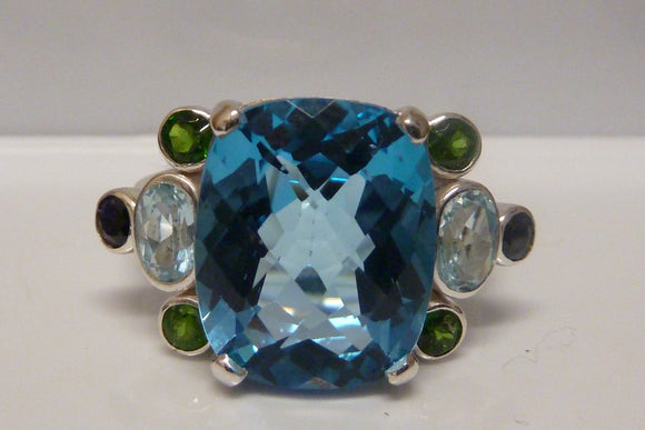 Topaz, Aquamarine & Peridot Ring set in Silver