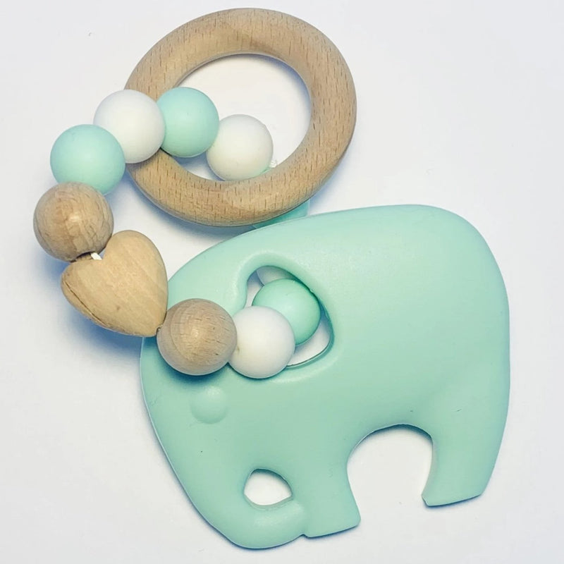 Sugar + Maple Silicone + Beechwood Teether Elephant