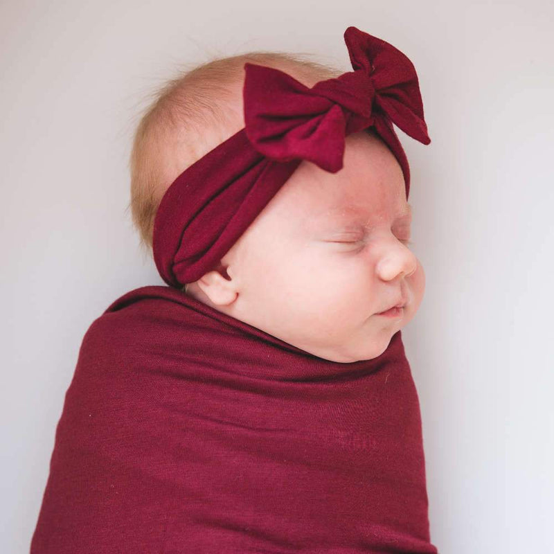Copper Pearl Knit Headband Bow | Ruby