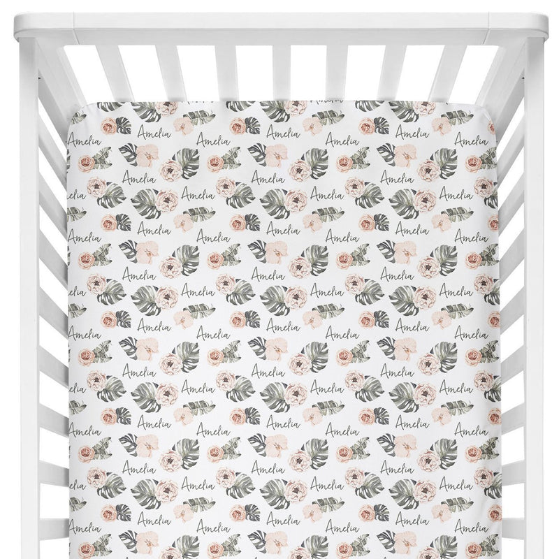 Sugar + Maple Crib Sheet - Tropical Floral