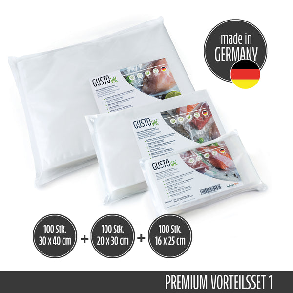 Set 1 - PREMIUM Vakuumbeutel geprägt - Made in Germany