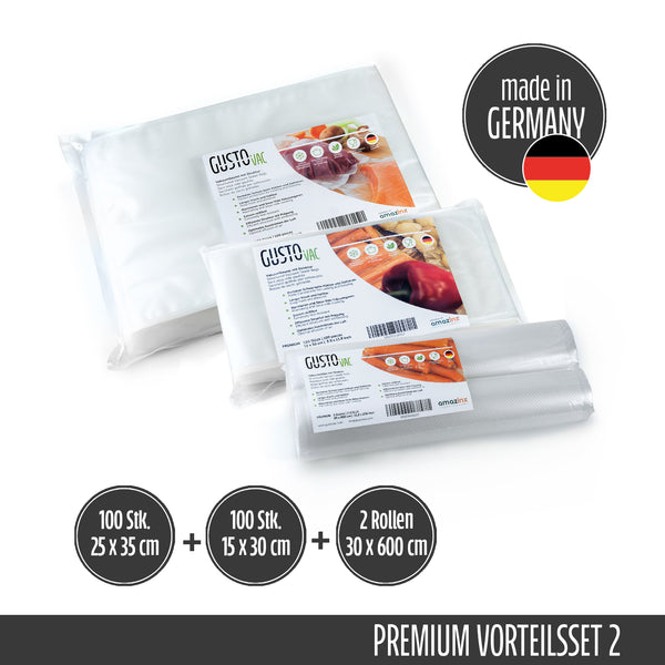 Set 2 - PREMIUM Vakuumbeutel & Rollen geprägt - Made in Germany