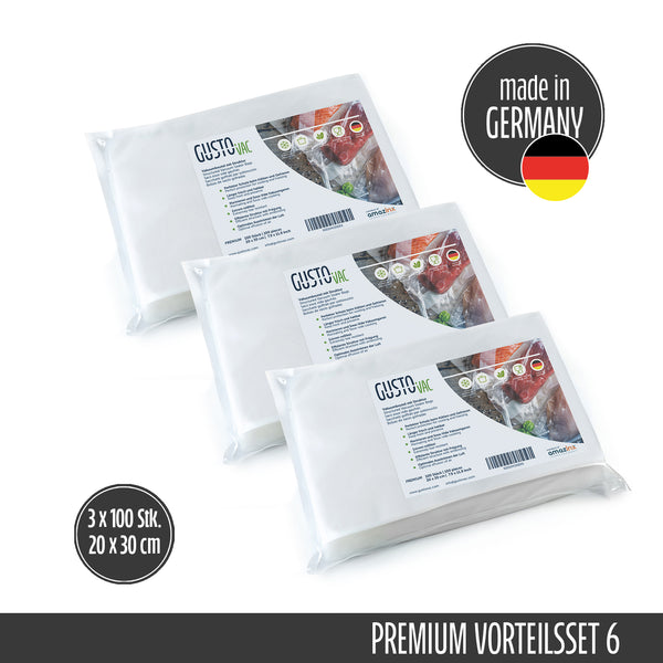 Set 6 - PREMIUM Vakuumbeutel geprägt - Made in Germany