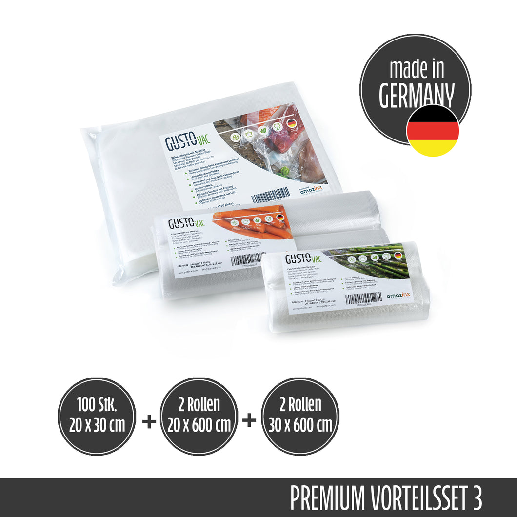 Set 3 - PREMIUM Vakuumbeutel & Rollen geprägt - Made in Germany