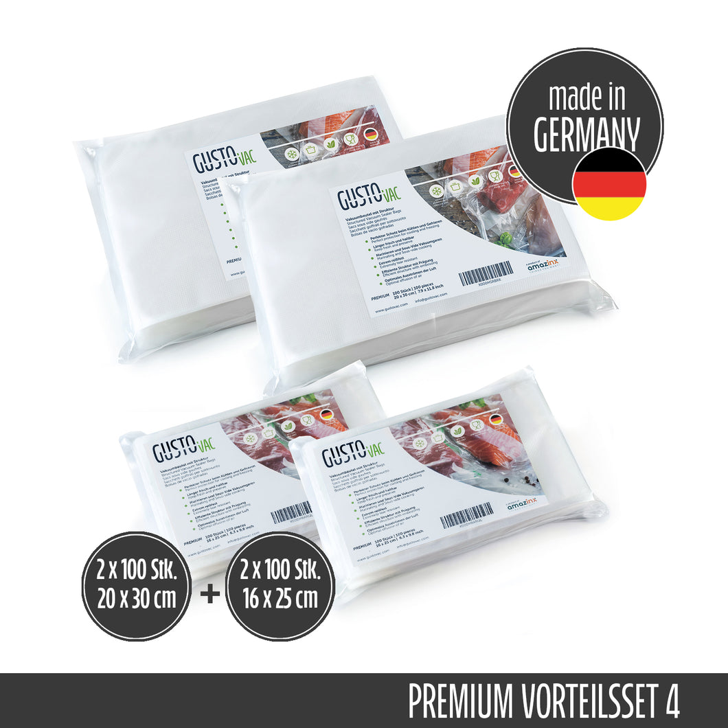 Set 4 - PREMIUM Vakuumbeutel geprägt - Made in Germany