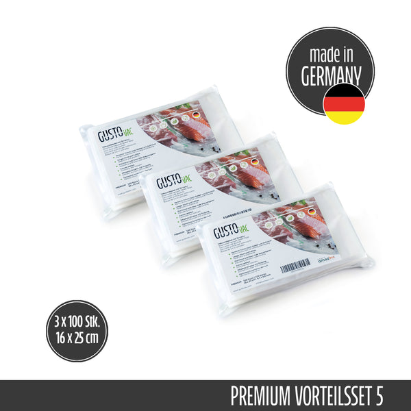 Set 5 - PREMIUM Vakuumbeutel geprägt - Made in Germany