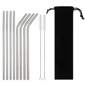Reusable Stainless Steel Drinking Straw Set