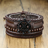 4Pcs/ Set Braided Leather Bracelets