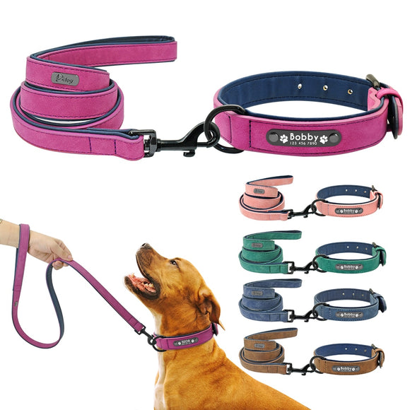 Personalized Leather Dog Collar & Leash set.