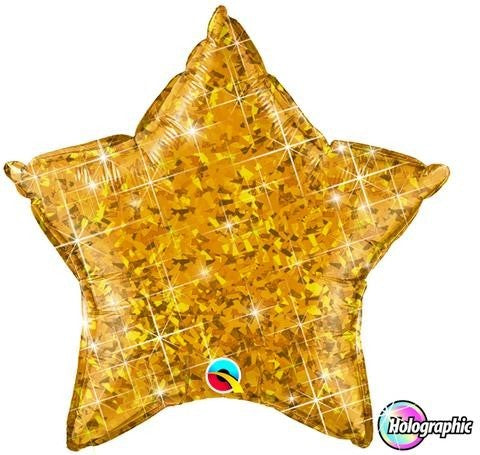 Plain Foil - Holographic Star 20 inch - Gold