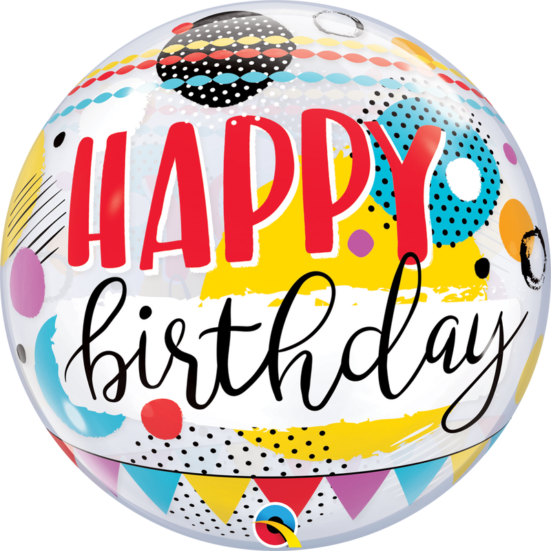 Bubble Balloon - 22 inch - Birthday Circles & Dot Patterns