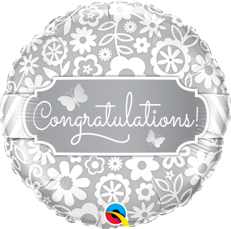 Printed Foil - 18 inch Round - Congratulations Butterflies