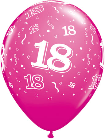 Printed Balloon - Age 18 - Wild Berry - 11 inch