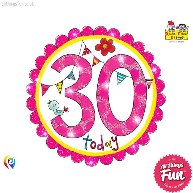Age 30 Perfect Pink Birthday Badge