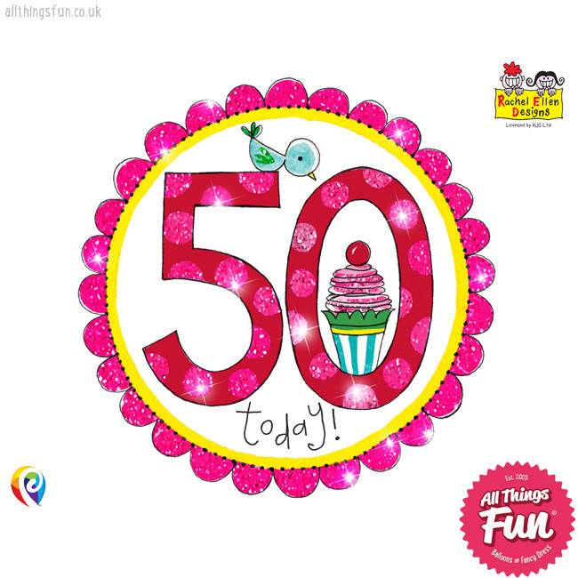 Age 50 Perfect Pink Birthday Badge