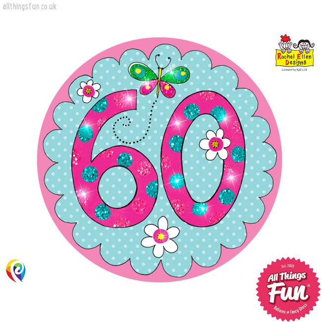 Age 60 Perfect Pink Birthday Badge