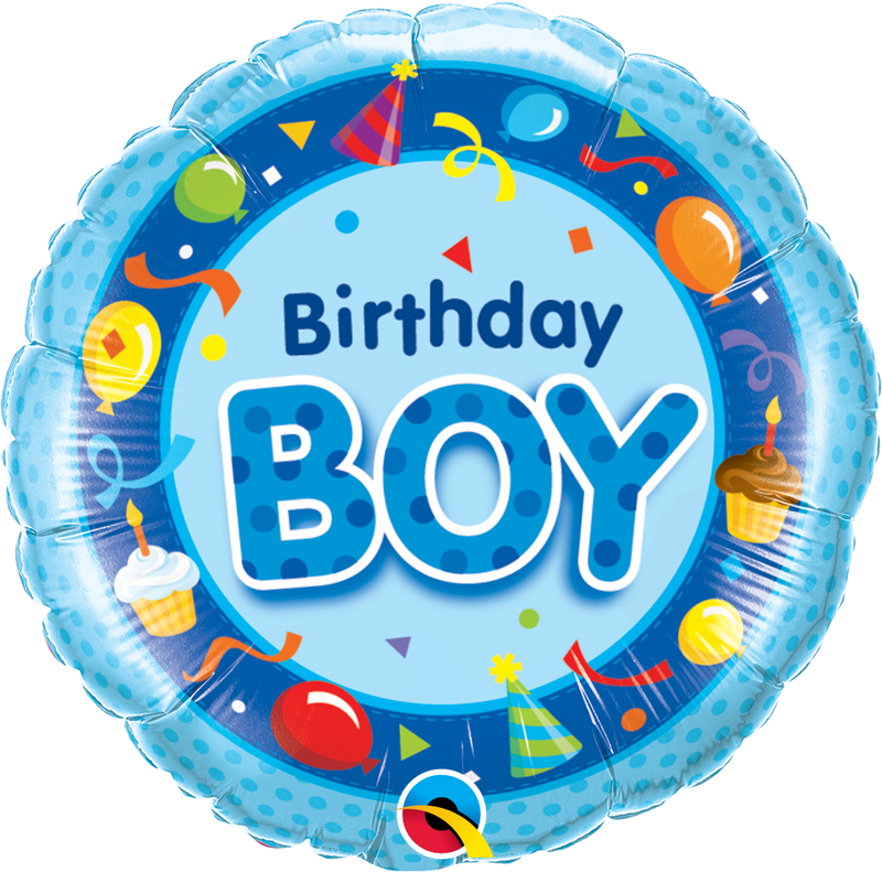 Printed Foil - 18 inch Round - Birthday Boy Blue