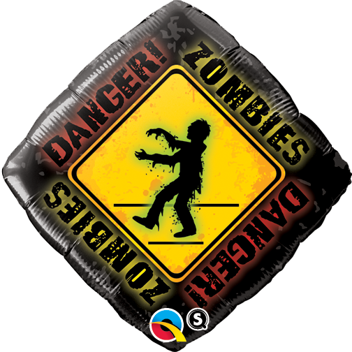 Printed Foil - 18 inch Diamond - Zombies Crossing