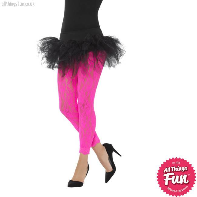 80's Neon Pink Lace Leggings