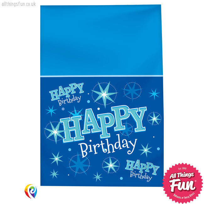 Table Cover - Happy Birthday Blue Sparkle