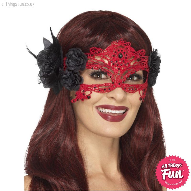 Red & Black Embroidered Lace Filigree Devil Eyemask