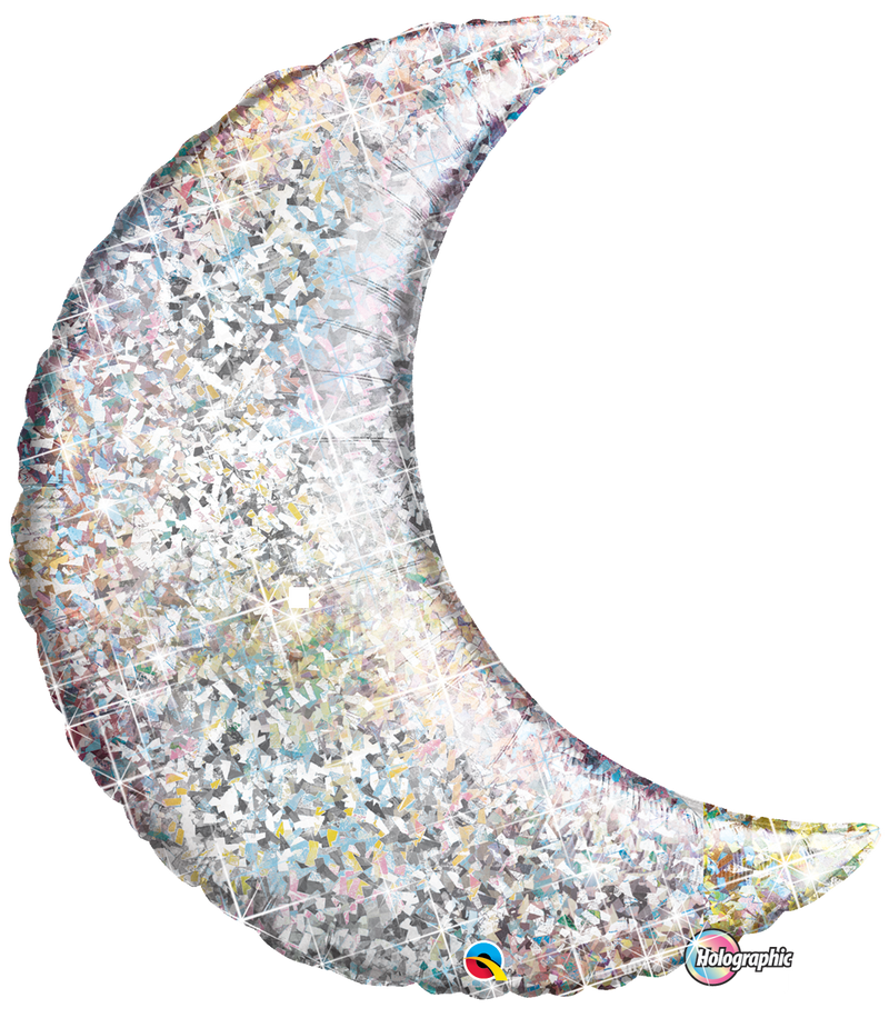 Plain Foil - Crescent Moon - Holographic Silver 35 inch