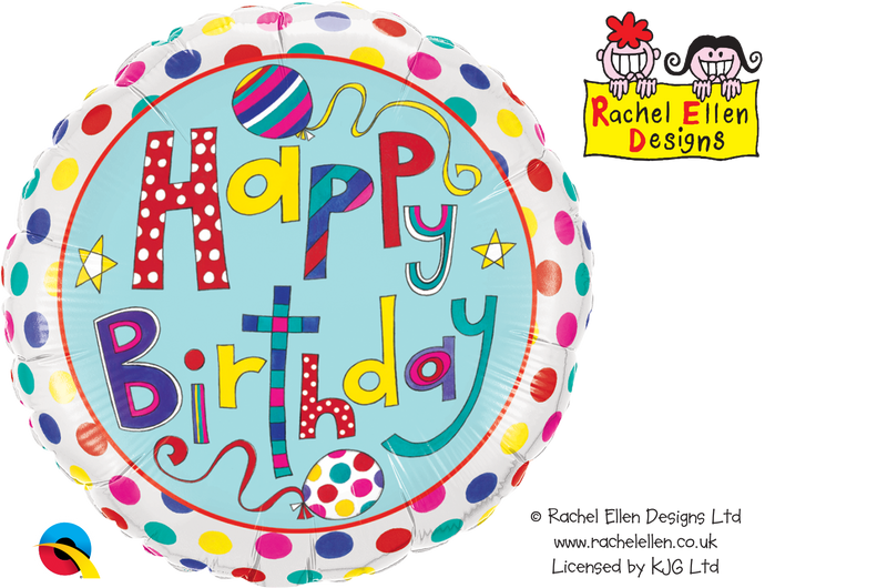 NS Printed Foil - 18 inch Round - Birthday Polka Dots & Stripes