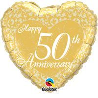 Printed Foil - 18 inch Heart - Happy 50th Anniversary Heart