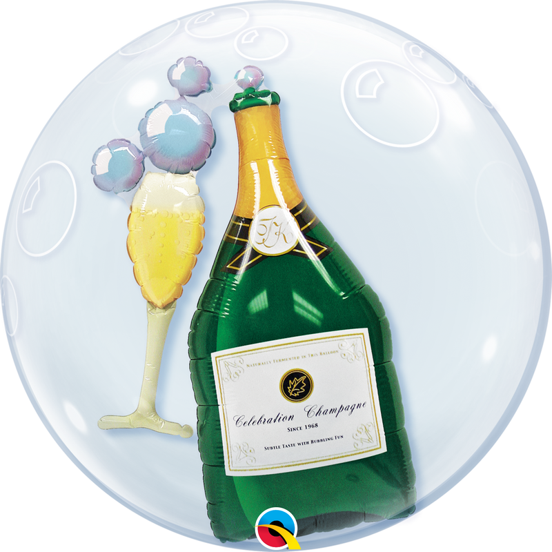 Double Bubble Balloon - 24 inch - Bubbly Wine Bottle & Glass