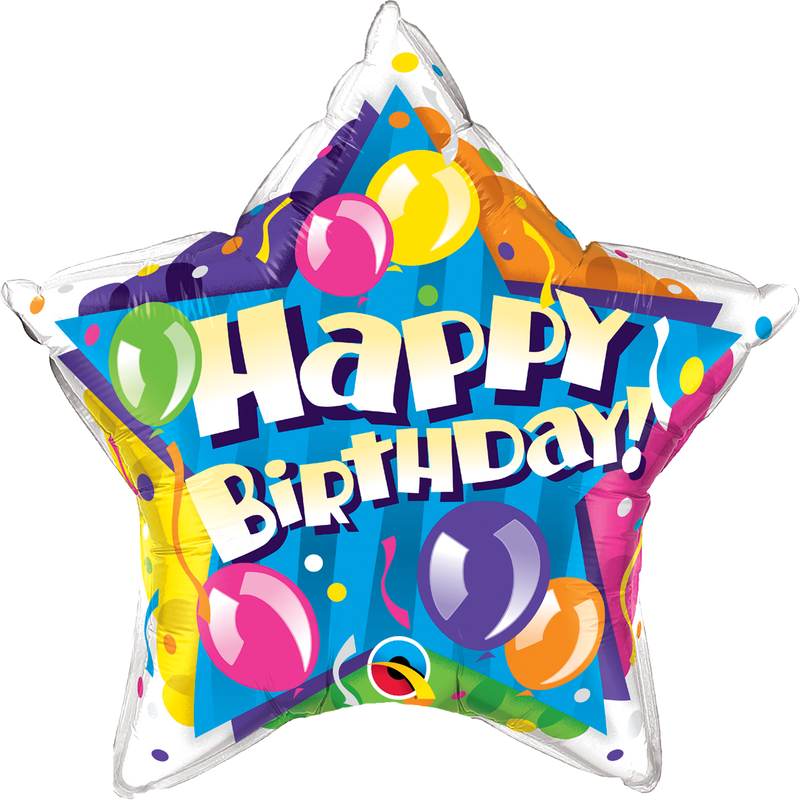 NS Printed Foil - 20 inch Star - Birthday Sparkling Balloons