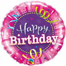 Airfilled Foil - 9 inch Round - Birthday Hot Pink