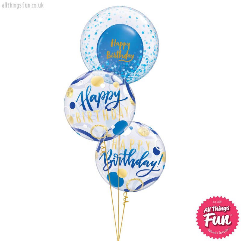 Blue & Gold Birthday Bubble Bouquet