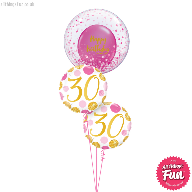 Pink Dots Age Birthday Bubble Bouquet