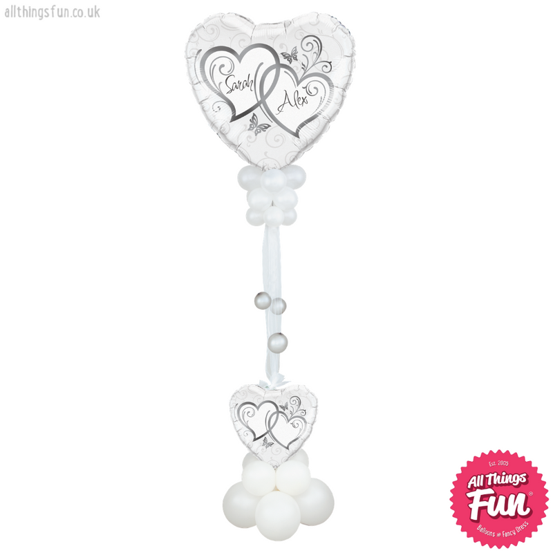 Silver Entwined Hearts Deluxe Giant Design (Personalised)