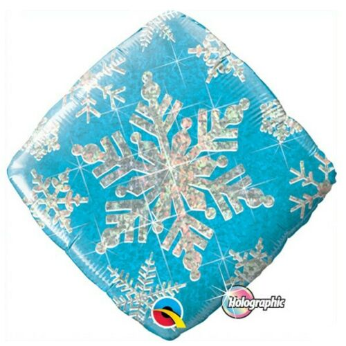 Printed Foil - 18 Inch Diamond - Blue Star With Snowflakes