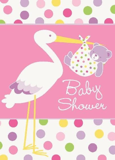 Baby Shower Stork Pink Invitations 8ct
