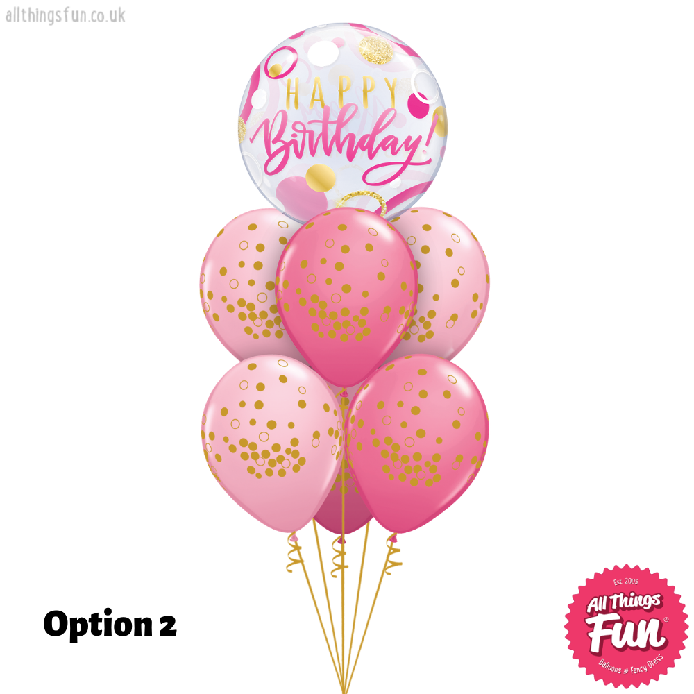 Birthday Pink & Gold Dots Bubble Luxury