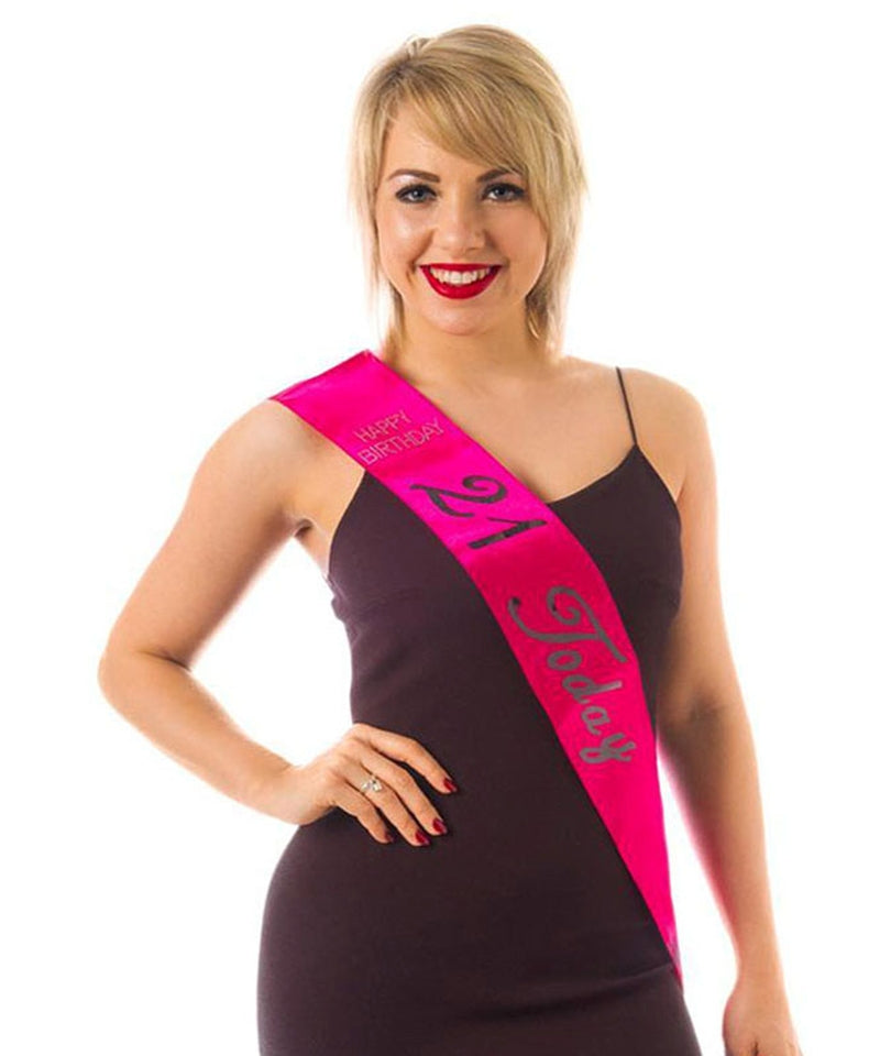 Hot Pink 21st Sash with Diamantes