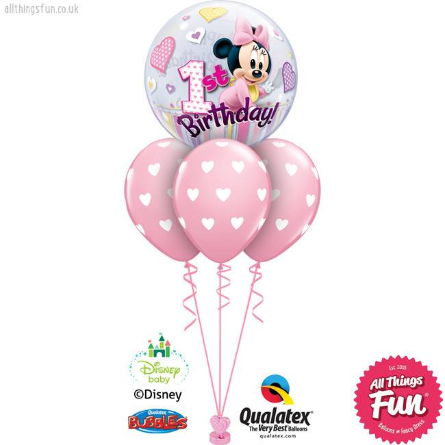 Disney Minnie Mouse 1st Birthday Bubble Layer