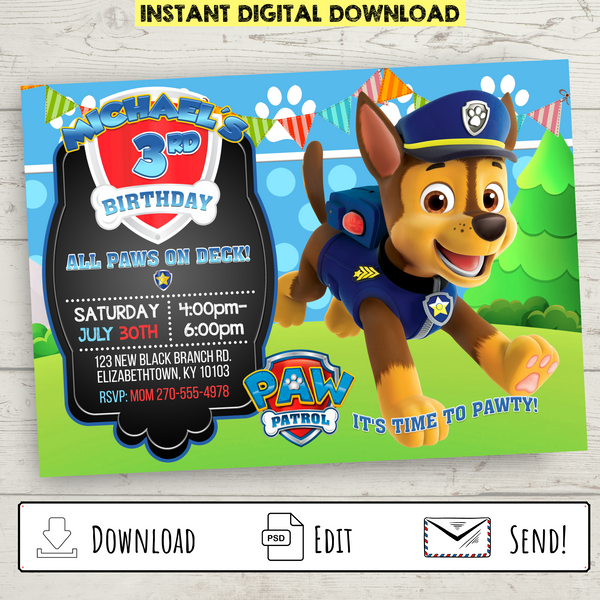 Printable Chase Paw Patrol Party Invitation