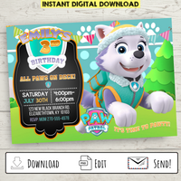 Printable Everest Paw Patrol Party Invitation
