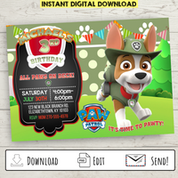 Printable Tracker Paw Patrol Party Invitation