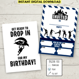 FREE Printable Double-Sided Fortnite Birthday Invitation