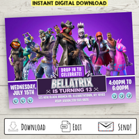 FREE Printable Fortnite Party Invitation (Purple)