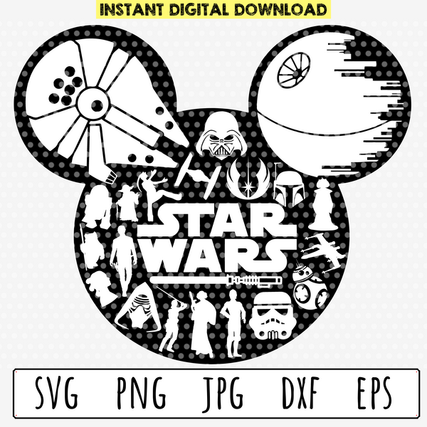 Mickey Mouse Head Star Wars Silhouettes SVG