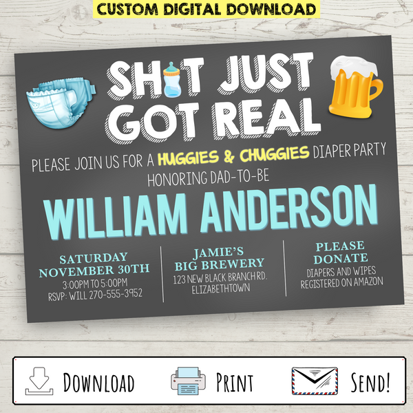 Custom Printable Huggies and Chuggies Diaper Party Invitation