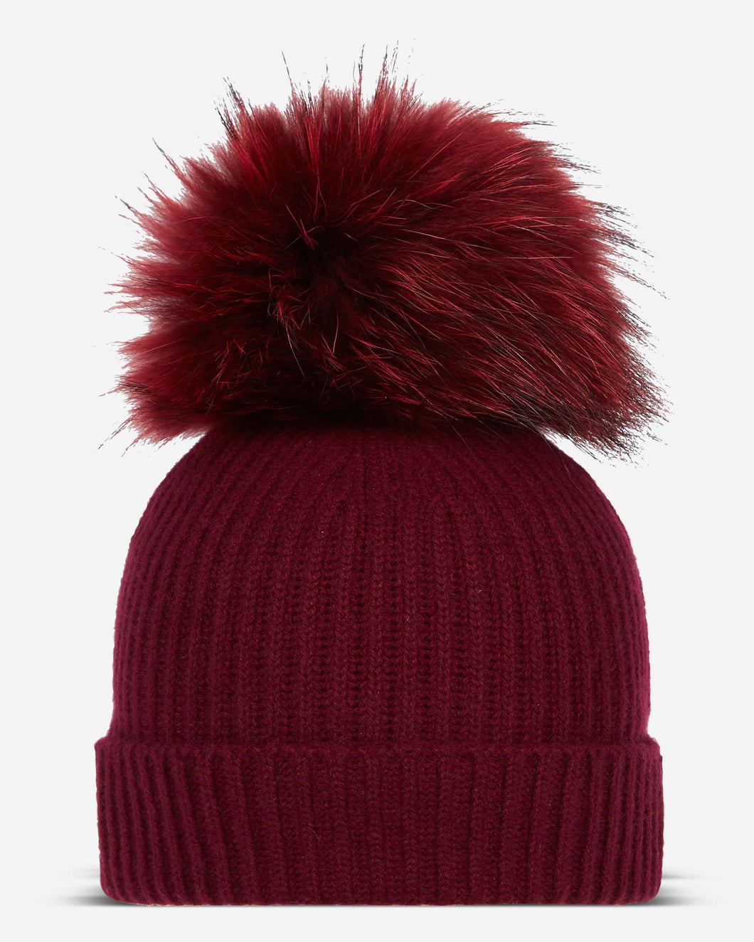 Ribbed Cashmere Hat With Detachable Pom Malbec Red