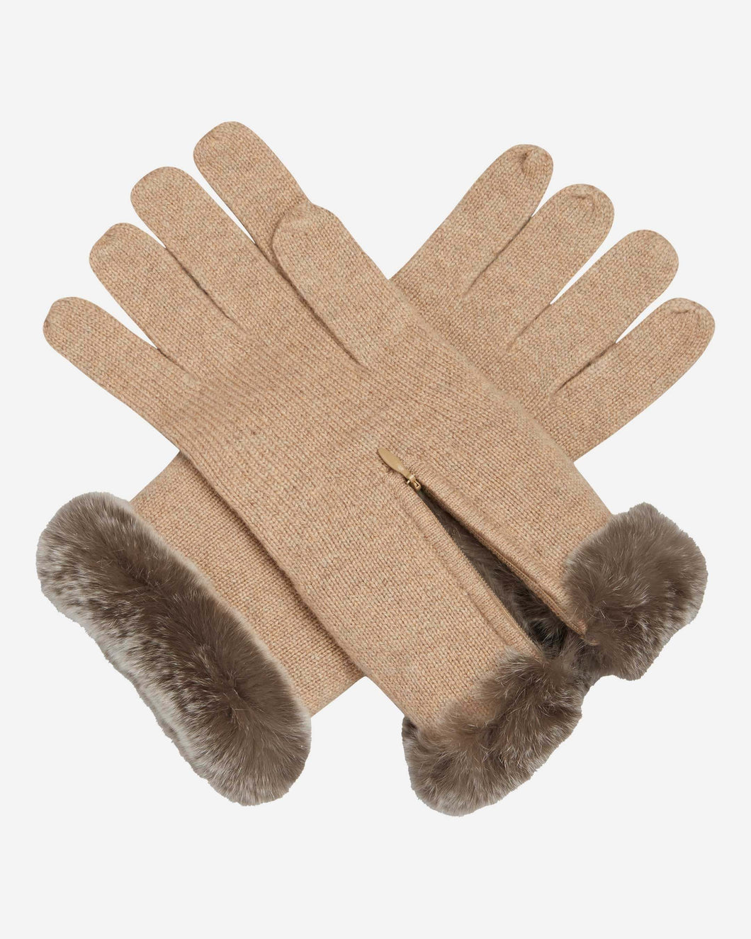 Fur And Cashmere Gloves Heather Camel Brown + Sable Brown Tipped Fur